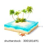 piece of tropical island with... | Shutterstock . vector #300181691