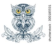 wise owl sitting in the... | Shutterstock .eps vector #300185531