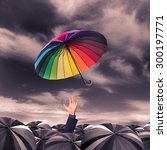 rainbow umbrella fly out from... | Shutterstock . vector #300197771