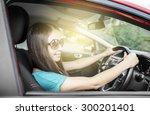 attractive brunette woman... | Shutterstock . vector #300201401