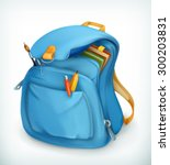 blue school bag  vector icon | Shutterstock .eps vector #300203831