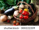 vegetables on wood. bio healthy ... | Shutterstock . vector #300222209