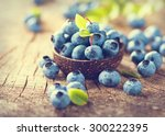 blueberry on wooden table... | Shutterstock . vector #300222395