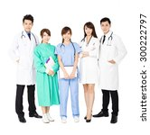 smiling medical team standing... | Shutterstock . vector #300222797