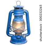 old blue kerosene lamp on... | Shutterstock . vector #300232265