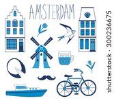 colorful amsterdam related... | Shutterstock .eps vector #300236675