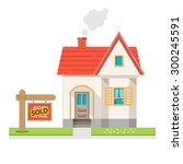 the house is sold. the house... | Shutterstock .eps vector #300245591