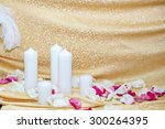 the gold candles in the design... | Shutterstock . vector #300264395