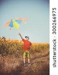 boy running across the field... | Shutterstock . vector #300266975