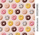 donut seamless pattern. vector... | Shutterstock .eps vector #300284081