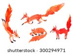 Set Of Watercolor Foxes  Hand...