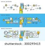 set of thin line flat design... | Shutterstock .eps vector #300295415