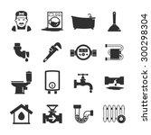 vector black plumbing icons...   Shutterstock .eps vector #300298304