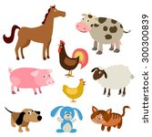 set of cute farm animals | Shutterstock .eps vector #300300839