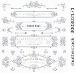 set of vintage decorations... | Shutterstock .eps vector #300302171