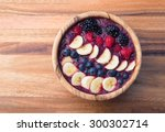 acai berry smoothie in a wooden ... | Shutterstock . vector #300302714