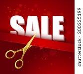 price cut gold scissors. vector ... | Shutterstock .eps vector #300325199