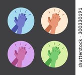 set of icons with two hands... | Shutterstock .eps vector #300330191