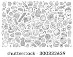 Foods doodles hand drawn sketchy vector symbols and objects | Shutterstock vector #300332639