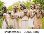 beautiful girls hen party with... | Shutterstock . vector #300337889