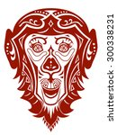 the stylized head of a monkey... | Shutterstock .eps vector #300338231