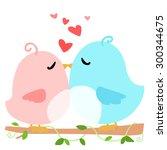 love bird on branch white... | Shutterstock .eps vector #300344675