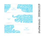Vector illustration, wave banners with ocean waves can be used as a greeting card. Banners. - stock vector