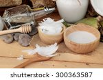 coconut and milk   oil coco for ... | Shutterstock . vector #300363587