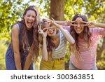 happy friends taking a selfie... | Shutterstock . vector #300363851