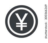 yen symbol in circle  on black...