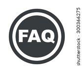 text faq in circle  on black...