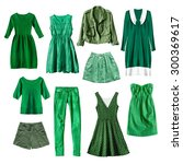 set of green female clothes on... | Shutterstock . vector #300369617