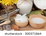 coconut and milk   oil coco for ... | Shutterstock . vector #300371864