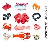 set of cartoon sea food   tuna  ...   Shutterstock .eps vector #300377447