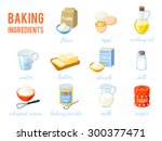 Set Of Cartoon Food  Baking...