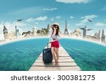 trendy young woman travelling... | Shutterstock . vector #300381275