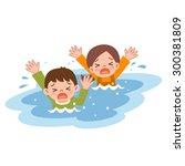 children drown | Shutterstock .eps vector #300381809