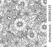 zentangle floral seamless... | Shutterstock .eps vector #300384155