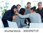 concerned patients comforting... | Shutterstock . vector #300390719