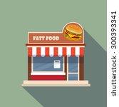 restaurants and shops facade ... | Shutterstock .eps vector #300393341
