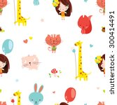 Cute Seamless Pattern With A...