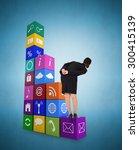 businesswoman bending against... | Shutterstock . vector #300415139