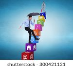 smiling businessman with... | Shutterstock . vector #300421121
