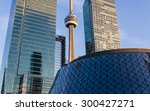Stock photo toronto canada june toronto skyline cn tower the roy thompson hall and highrises the 300427271
