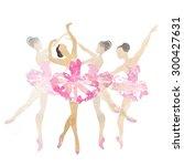 two watercolor ballerina... | Shutterstock . vector #300427631