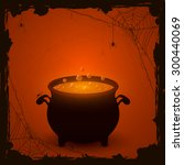 halloween witches cauldron with ... | Shutterstock .eps vector #300440069