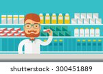 a young  pharmacy chemist man... | Shutterstock .eps vector #300451889