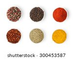 spices in a bowls isolated on... | Shutterstock . vector #300453587