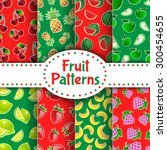 fruit patterns set on red and... | Shutterstock .eps vector #300454655