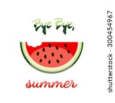 bye bye summer watermelon vector | Shutterstock .eps vector #300454967